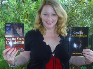 Suzy Lee McNamara with her copies of both Justin's books