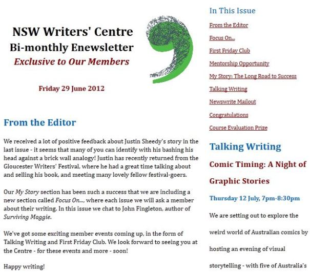 NSW Writers' Centre E-Newsletter June 2012