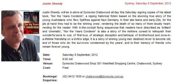 Dymocks Literary Events listing for Justin Sheedy