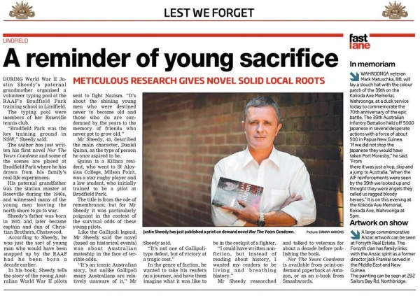 Justin Sheedy in ANZAC DAY Edition of North Shore Times