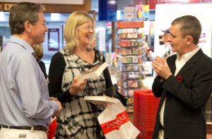 Sheedy with happy store customers, Dymocks George Street