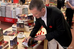 Sheedy signing copies of his books, Dymocks Sydney, Remembrance Day 2012