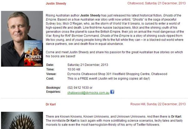 Saturday 21 Dec at Dymocks Chatswood