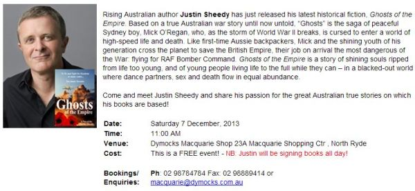 Saturday 7 Dec at Dymocks Macquarie Centre