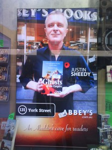 Justin Sheedy in Abbeys Books window display