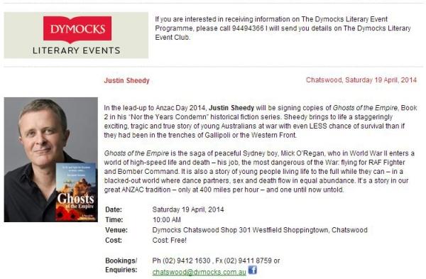 Justin Sheedy at Dymocks ANZAC Week