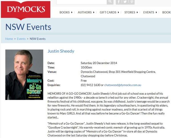 Justin Sheedy Dymocks Literary Events Dec 2014