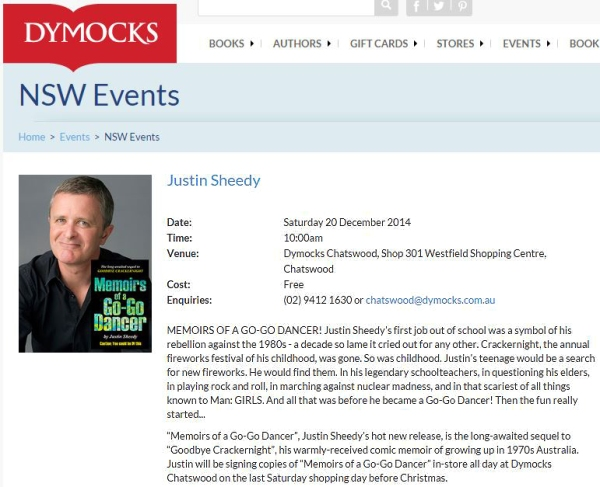 Justin Sheedy Dymocks Literary Events Dec 2014