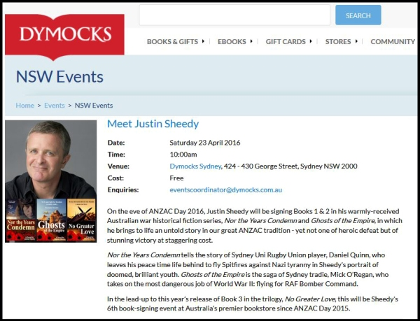 Justin Sheedy Dymocks Sydney Anzac 2016