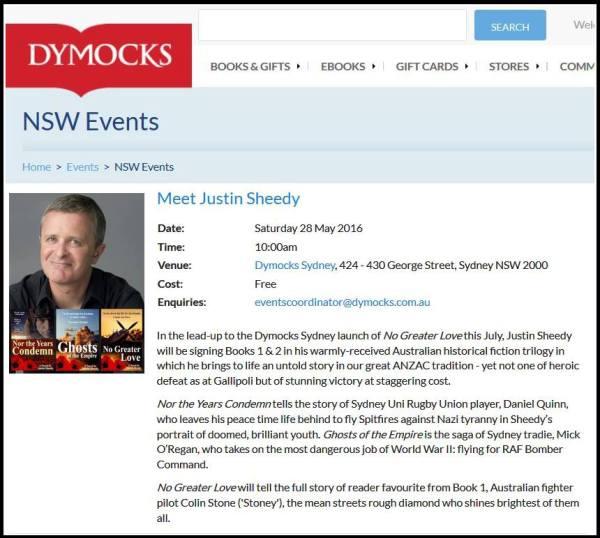Justin Sheedy Dymocks May 2016