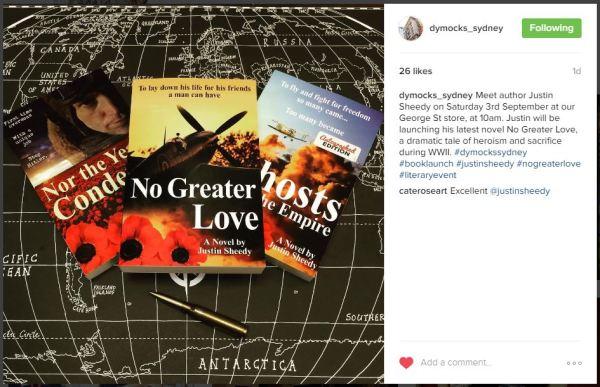 Dymocks Sydney Instagram pic for Justin Sheedy Book Launch Sat 3 Sept 2016