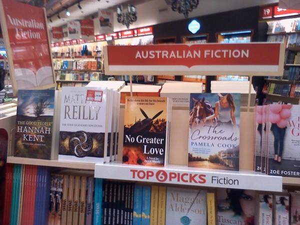 """No Greater Love"" by Justin Sheedy on Dymocks Sydney Best-Seller shelf"